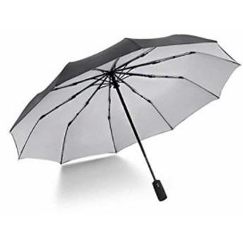 Hrf 折りたたみ傘 自動開閉式折りたたみ傘 折り畳み傘 【10本骨超強靭二重布構造収納ポーチ付き】 (ブラック×グレー)