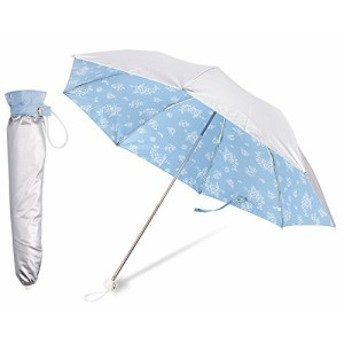晴雨兼用 日傘 折りたたみ傘 2段折 UVカット率99%以上 遮光率99%以上 UPF50+ 遮熱 シルバーコーティング 軽量220g (ブルー)