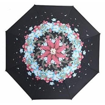 Simple+ 折り畳み傘 ワンタッチ自動開閉 本骨 耐風撥水 晴雨兼用 軽量楽々 収納ポーチ付き 可愛い 花