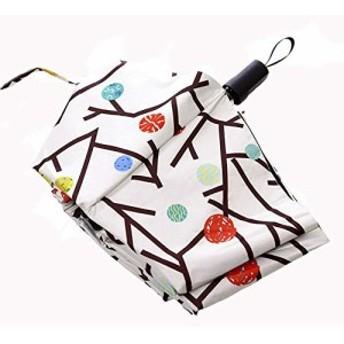Bidason 晴雨兼用傘 折り畳み 傘 男女兼用 日傘 紫外線対策 撥水加工 折りたたみ傘 軽量 花柄 (XS-白)