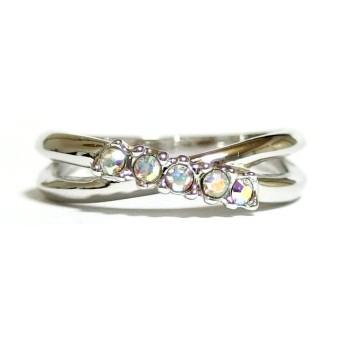 クロスライン スワロフスキー オーロラクリア シルバー リング 指輪 ユニセックス 男女兼用 レディース メンズ