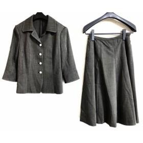 レリアン Leilian スカートスーツ サイズ9 M レディース 黒×アイボリー 肩パッド【中古】