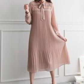 ワンピース レディース 韓国製 長袖 無地 刺繍 プリーツ ワンピース マキシ ロング 大きいサイズ 結婚式 30代 40代 50代 ファッション