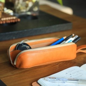 拡張可能な革のペンケース、シンプルなジッパーペンケース、道具袋、化粧品袋、収納袋