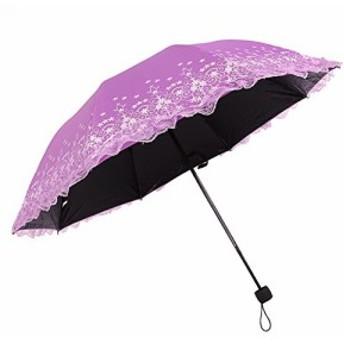 Bidason 日傘 レース 折り畳み 式 傘 晴雨兼用 折りたたみ傘 レディース uvカット 折り畳み傘 紫外線対策パラソル 花柄 折畳み傘 (パー