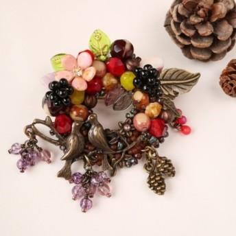 恋の実る季(とき)*小鳥 リース ブローチ とり 愛鳥週間 仲良し 花 木の実 葡萄 ぶどう ブドウ 松ぼっくり 秋