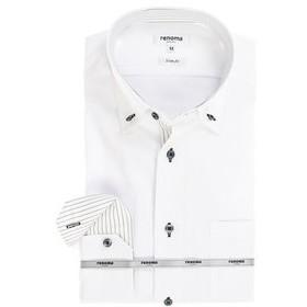 【TAKA-Q:トップス】アイスカプセル形態安定スリムフィット 3枚衿ボタンダウン7分袖ビジネスドレスシャツ