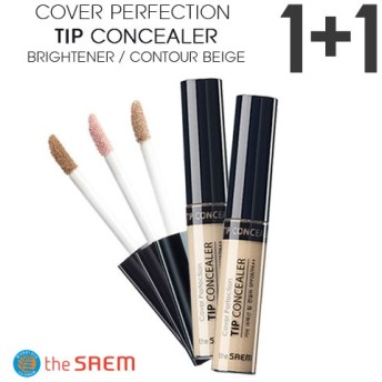「1+1」ザセム カバーパーフェクションのヒントコンシーラー/輪郭ベージュ/ブライトナーThe Saem Cover Perfection Tip Concealer/Contour/Brightne