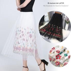 【即送】花柄刺繍フレアーロングスカート 夏 韓国ファッション 黒 柄 白 スカート ロング スカート スカート ミモレ丈 スカート レディース