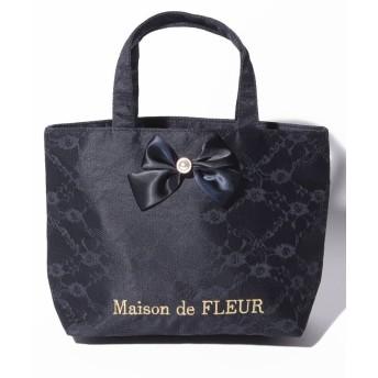 【10%OFF】 メゾンドフルール ダブルリボンレーストートバッグ レディース ネイビー FREE 【Maison de FLEUR】 【タイムセール開催中】