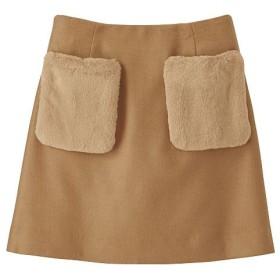 35%OFF【レディース】 ポケットフェイクファーミニスカート(インナーパンツ仕様) - セシール ■カラー:キャメル ■サイズ:S,M,L,LL