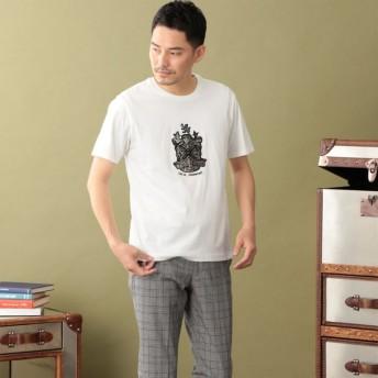 SALE【ザ・スコッチハウス(THE SCOTCH HOUSE)】 【180周年記念商品】オーガニックコットン使用クレスト刺繍Tシャツ ホワイト