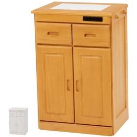キッチンカウンター 天然木 タイル天板 キャスター付 幅47cm ( カウンター キッチン タイル キャスター )