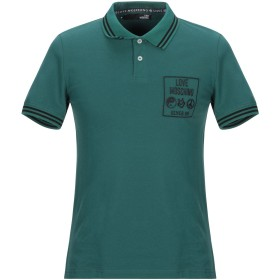 《期間限定セール開催中!》LOVE MOSCHINO メンズ ポロシャツ グリーン S コットン 96% / ポリウレタン 4% / ポリエステル
