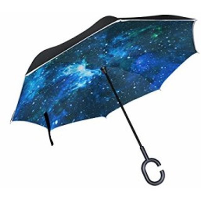 マキク(MAKIKU) 逆さ傘 長傘 日傘 逆折り式傘 晴雨兼用 UVカット 傘 自立式 手離れC型手元 耐風 紳士傘 婦人傘 ビジネス用 車用 宇宙