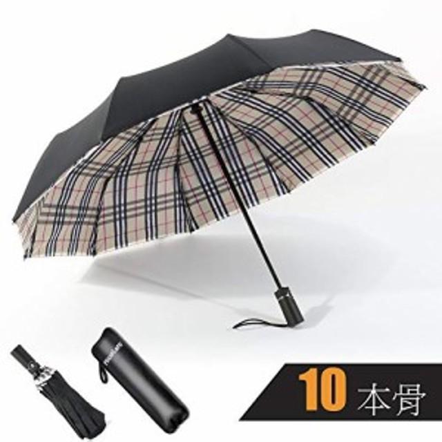 NicoleNi 折りたたみ傘 自動開閉式 2重構造 日傘 晴雨兼用 折り畳み傘 頑丈な10本骨 Teflon加工 耐風撥水 210T高強度 防災梅雨