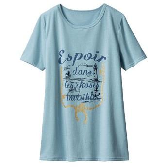 50%OFF【レディース】 プリントTシャツ(半袖) ■カラー:サックスブルー ■サイズ:S