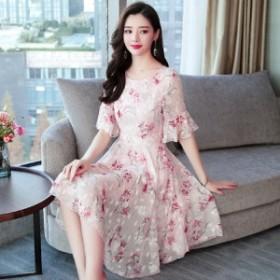 [送料無料] ドレス パーティードレス 結婚式 二次会 お呼ばれ レディース ワンピース 袖あり 半袖 大きいサイズ 膝丈 ミディ丈 花柄 刺繍