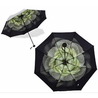 折りたたみ日傘 内側柄 晴雨兼用 アンブレラ UPF50 UVカット(白色)