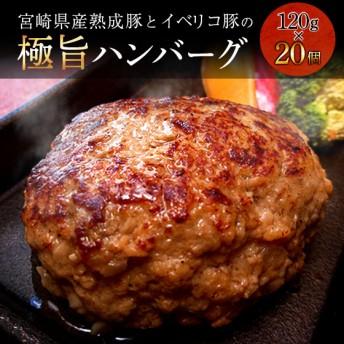 宮崎県産熟成豚とイベリコ豚のハンバーグ120g×20個(20個)