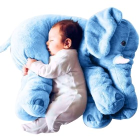 赤ちゃん象の枕柔らかいぬいぐるみの綿の人形赤ちゃん動物のクッション (青 S)