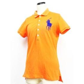 【中古】ラルフローレン RALPH LAUREN ポロシャツ 鹿の子 ビーズ ビッグポニー 半袖 オレンジ L ◇01 レディース 【ベクトル】