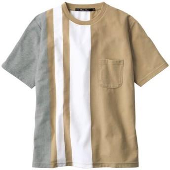 【メンズ】 大胆ストライプ柄の吸汗・速乾素材Tシャツ - セシール ■カラー:ベージュ系 ■サイズ:M,LL,3L,5L,L