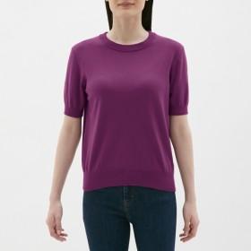 (GU)UVカットウォッシャブルクルーネックセーター(半袖) PURPLE XS