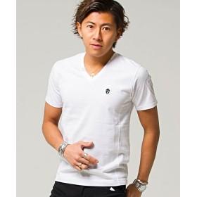 シルバーバレット VIOLAVIOLA プリント入りVネック半袖Tシャツ メンズ オフホワイト XL 【SILVER BULLET】