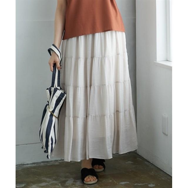 【ゆったりワンサイズ】ベルト付ティアードロングスカート (ロング丈・マキシ丈スカート)Skirts, 裙子