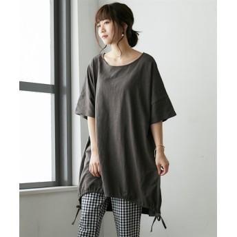 【ゆったりワンサイズ】裾ドロストチュニック (Tシャツ・カットソー)(レディース)T-shirts