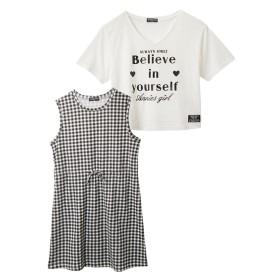 2点セット(Tシャツ+ワンピース)(女の子 子供服。ジュニア服) ワンピース