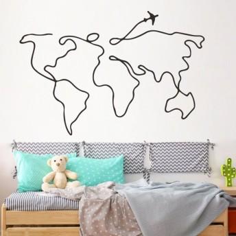 ウォールステッカー ウォールシール シール式 世界地図 飛行機 壁シール 壁紙シール 壁面装飾 壁装飾 室内装飾 インテリア