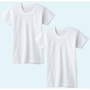 GUNZE グンゼ キッズ 半袖丸首(2枚組)(子供100-160cm)(男の子) ホワイト 120