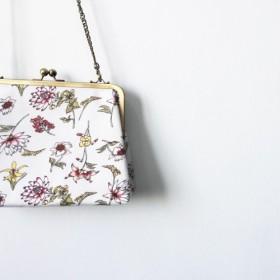 Wahr_赤黄色の花の正方形の口のゴールドバッグクラッチバッグサイドバックパックショルダーバッグ化粧品袋