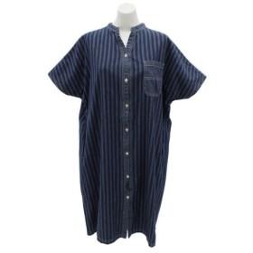 クリフメイヤー(KRIFF MAYER) インディゴ総柄 ワンピースシャツ 1854006L-4-LBLU (Lady's)