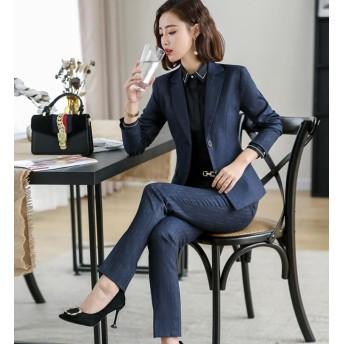 [55555SHOP] パンツスーツ スカートセット 2点セットレディーススカートスーツセット 通勤OL 事務服/長袖スーツ オフィス ビジネス 入学式 卒業式 大きいサイズ2色