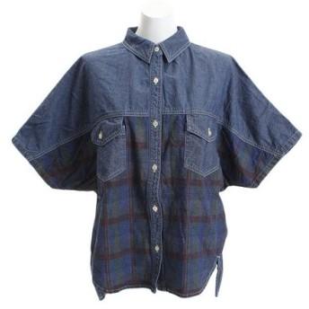 クリフメイヤー(KRIFF MAYER) インディゴ総柄 ユルシャツ 1854007L-3-BLU (Lady's)