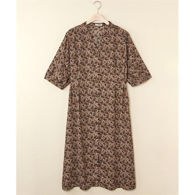 ペイズリープリント前ボタンガウンワンピース (大きいサイズレディース)ワンピース, plus size dress, 衣裙, 連衣裙
