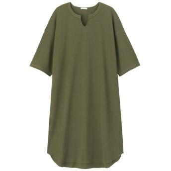 (GU)キーネックTワンピース(5分袖) OLIVE L
