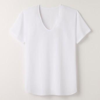 【メンズ】 半袖U首・2枚組 - セシール ■カラー:ホワイト ■サイズ:LL,M,L