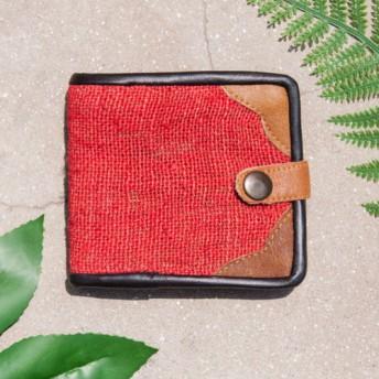 母の日バレンタインの日ギフト新年の贈り物国立風の森クリスマスプレゼント綿麻財布手作りの編まれたレザーショートクリップショート財布