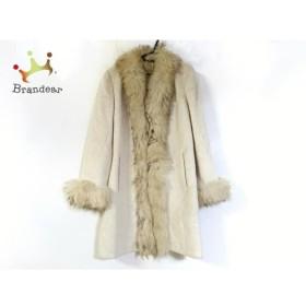 デルバ DELBA コート サイズ46 XL レディース 美品 アイボリー×ベージュ 冬物/肩パッド/ファー 新着 20190513