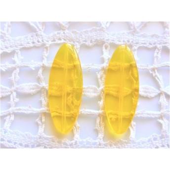 透明黄色 大きな チェコビーズ2個