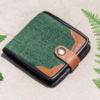 母の日バレンタインの日ギフト新年の贈り物国の風の森クリスマスギフト綿麻財布手編みの革短いクリップ短い財布小銭入れ財布 - グリー