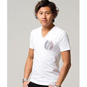 【30%OFF】 シルバーバレット CavariAラインストーン付きVネックTシャツ メンズ ホワイト 46(L) 【SILVER BULLET】 【タイムセール開催中】