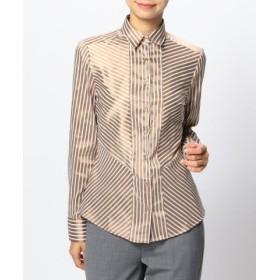 (NARA CAMICIE/ナラカミーチェ)ミラノストライプ切り替えシャツ/レディース ブラウン系 送料無料