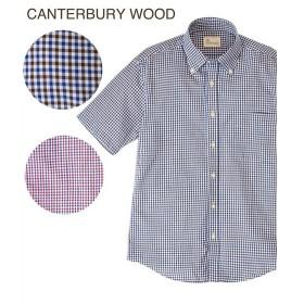 シャツ カジュアル メンズ CANTERBURY WOOD カンタベリーウッド オックスチェック柄 半袖 トップス M/L/LL ニッセン