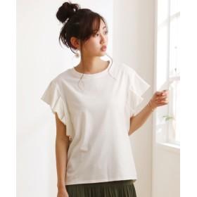 折りたたみフリル袖カットソートップス (Tシャツ・カットソー)(レディース)T-shirts, T恤