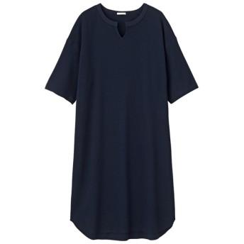 (GU)キーネックTワンピース(5分袖) NAVY L